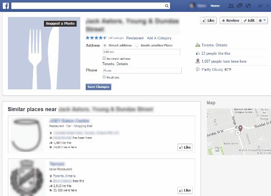 Places pages Facebook