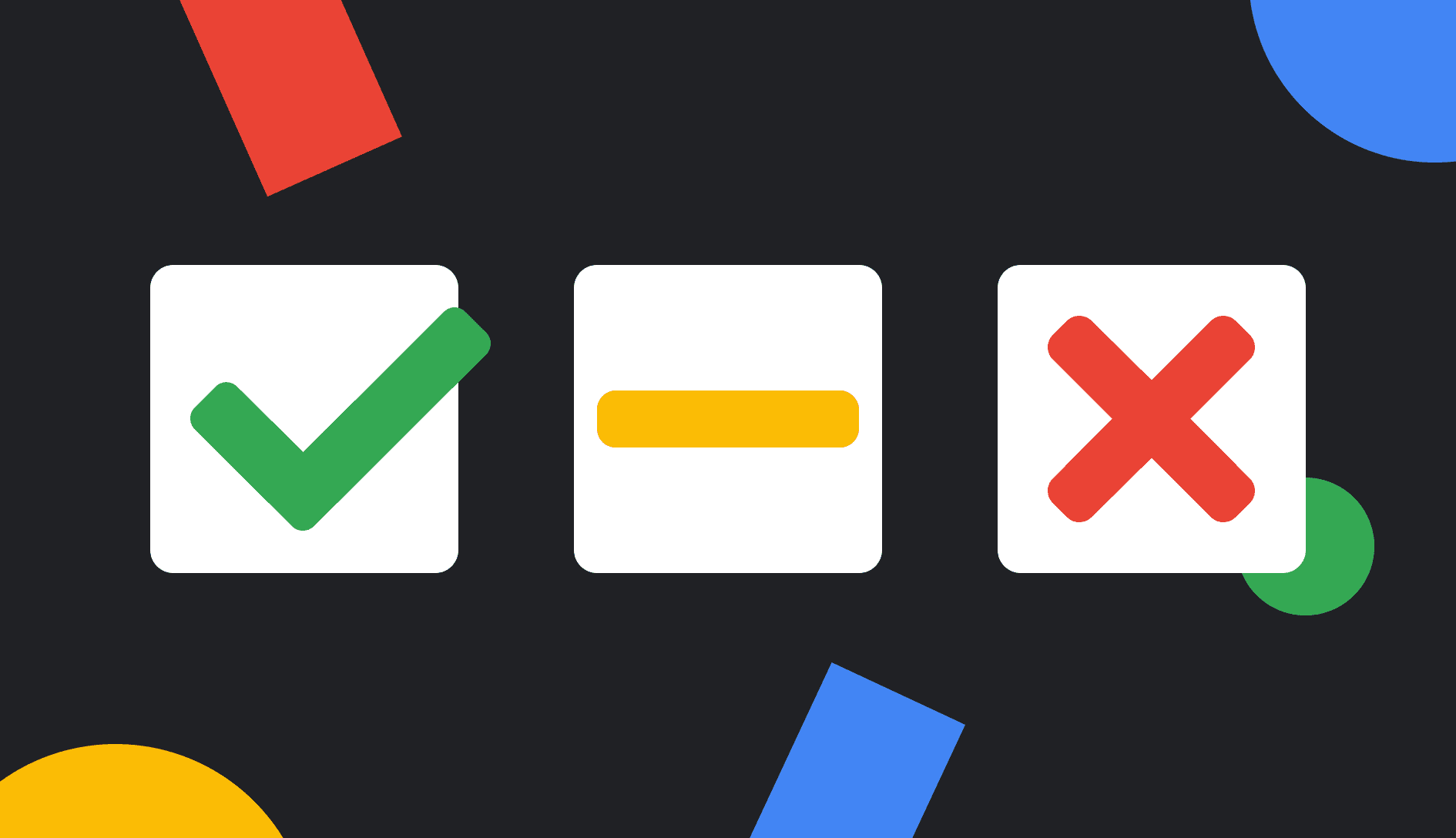 an image of a checkmark and an x
