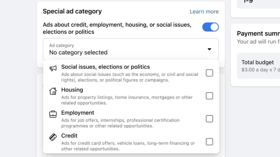 Facebook Special Ad Category interface that lists categories about credit, employment, housing, or social issues, elections or politics.