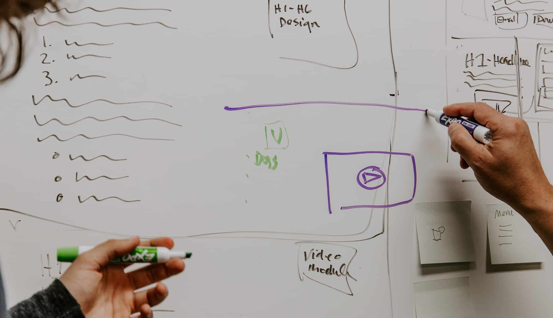 sketches on whiteboard for website design and structure
